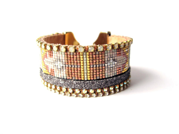 White Geometric Friendship Cuff ---