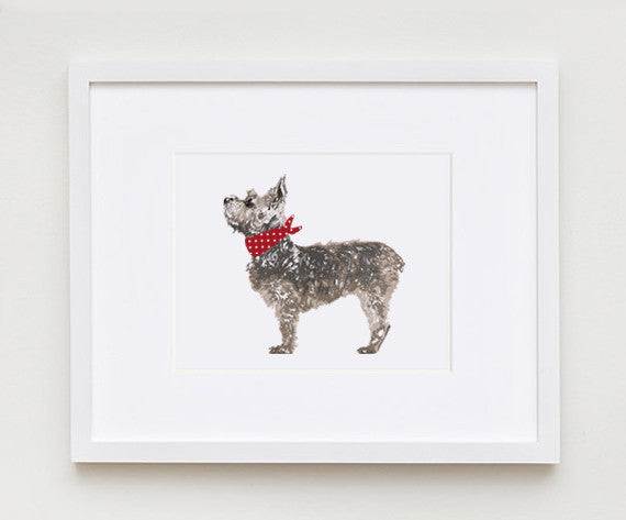 "5"" x 7"" Small Terrier Print ---"