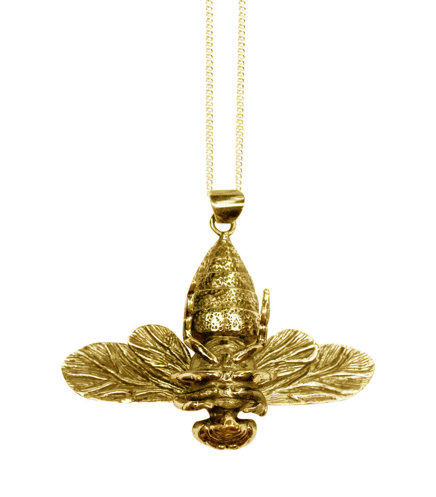 Bronze Bee Necklace ---