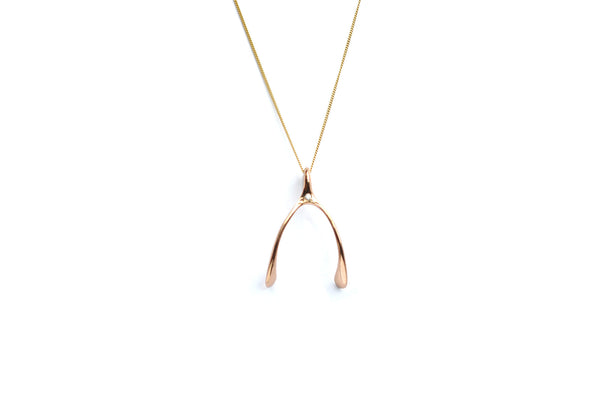 Mini Gold Wishbone Necklace ---