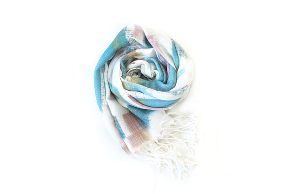 Teal + Gold Scarf ---