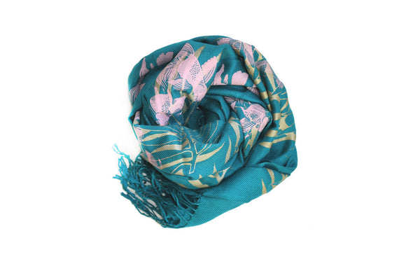 Teal Double Printed Koi Silk Scarf ---