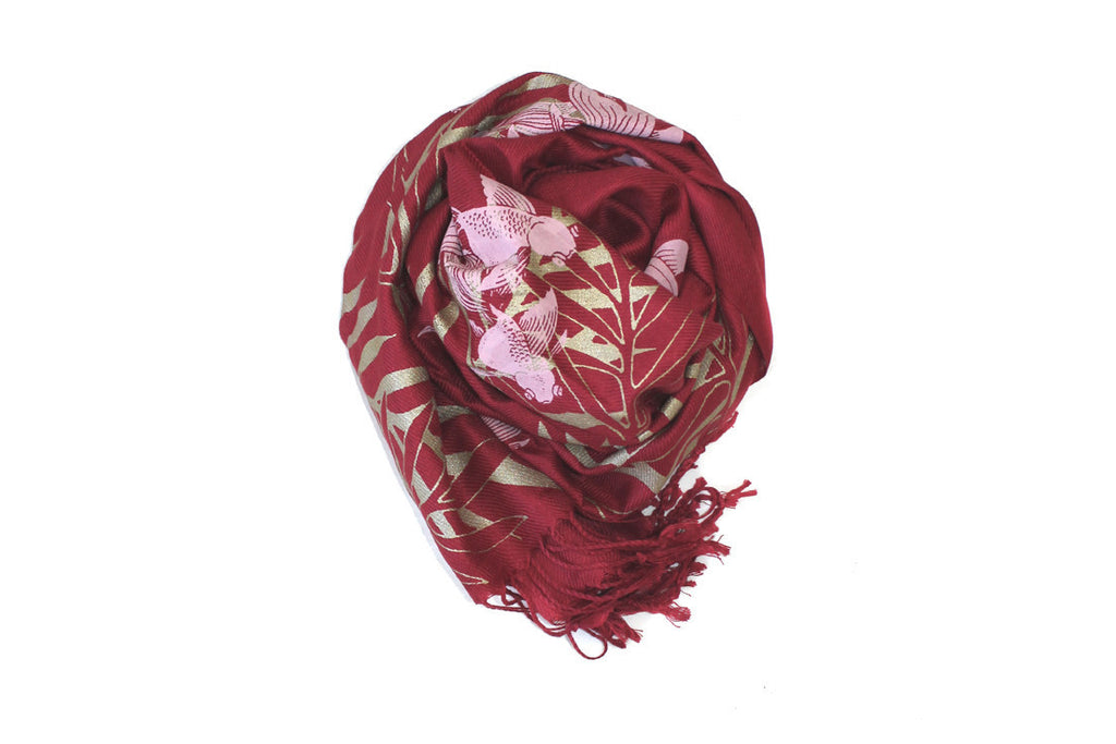 Red Double Printed Koi Silk Scarf ---