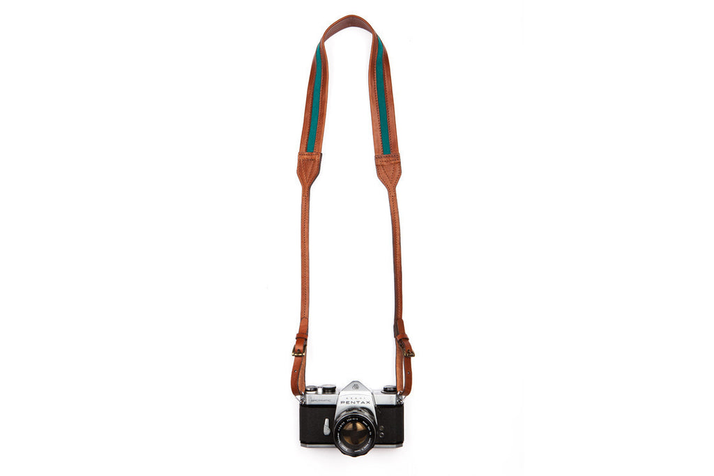 Classic Blue Brown Leather Camera Strap ---