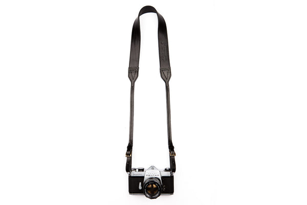 Black Leather Camera Strap ---