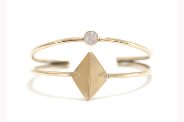 Moonstone & Brass Cuff ---