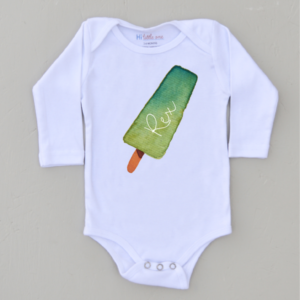 Personalized Green Popsicle Onesie (More Options)