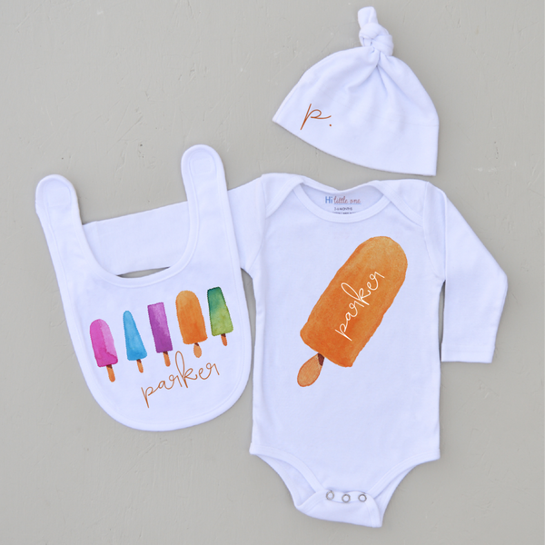 Personalized Orange Popsicle 3 Piece Set (More Options)