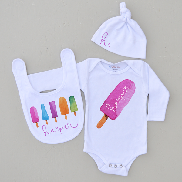 Personalized Pink Popsicle 3 Piece Set (More Options)
