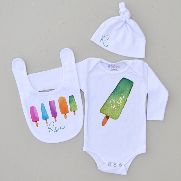 Personalized Green Popsicle 3 Piece Set (More Options)