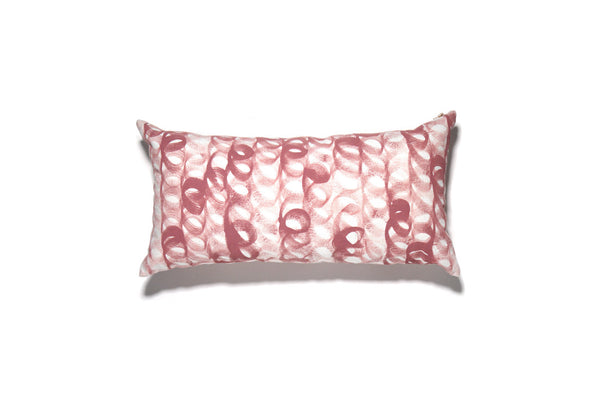 Rose Hand Painted Loop Lumbar Pillow Cover