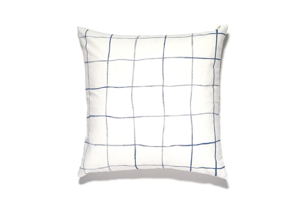 HAND PAINTED WINDOWPANE PRINT PILLOW COVER