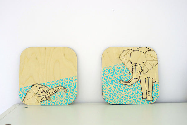Elephant Wall Art (Set of 2) ---