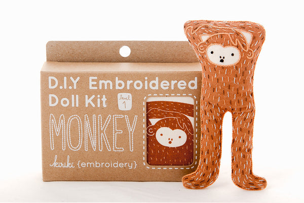 Monkey DIY Embroidered Doll Kit ---