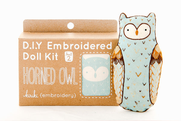Horned Owl DIY Embroidered Doll Kit ---