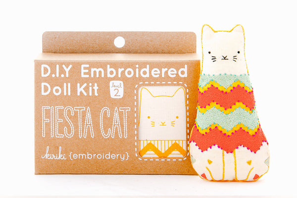 Fiesta Cat DIY Embroidered Doll Kit ---