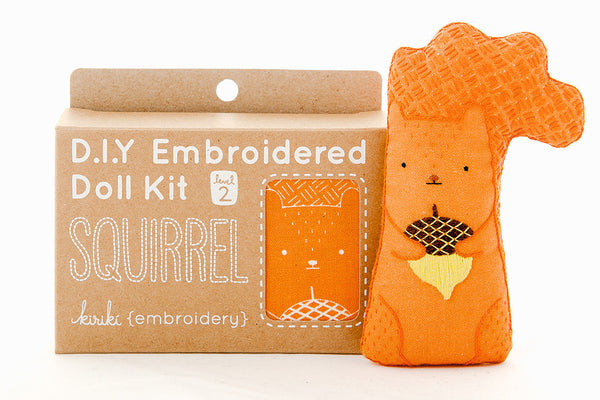 Squirrel DIY Embroidered Doll Kit ---