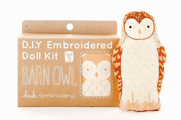 Barn Owl DIY Embroidered Doll Kit ---