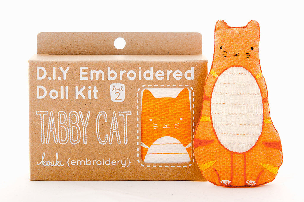 Tabby cat diy embroidered doll kit brika