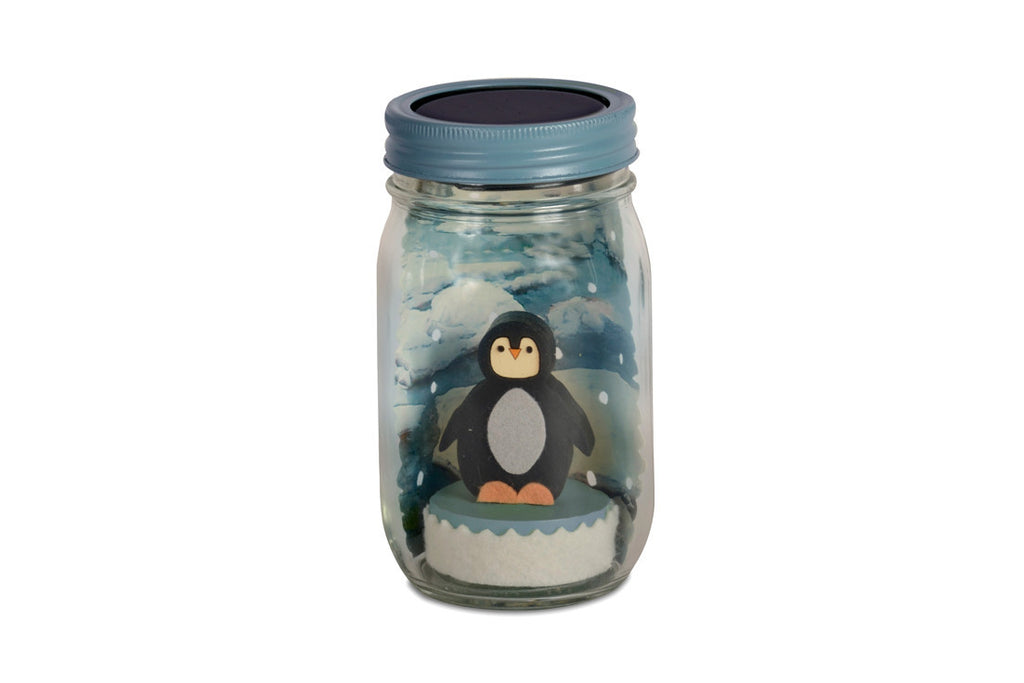Penguin Mason Jar Solar Light ---