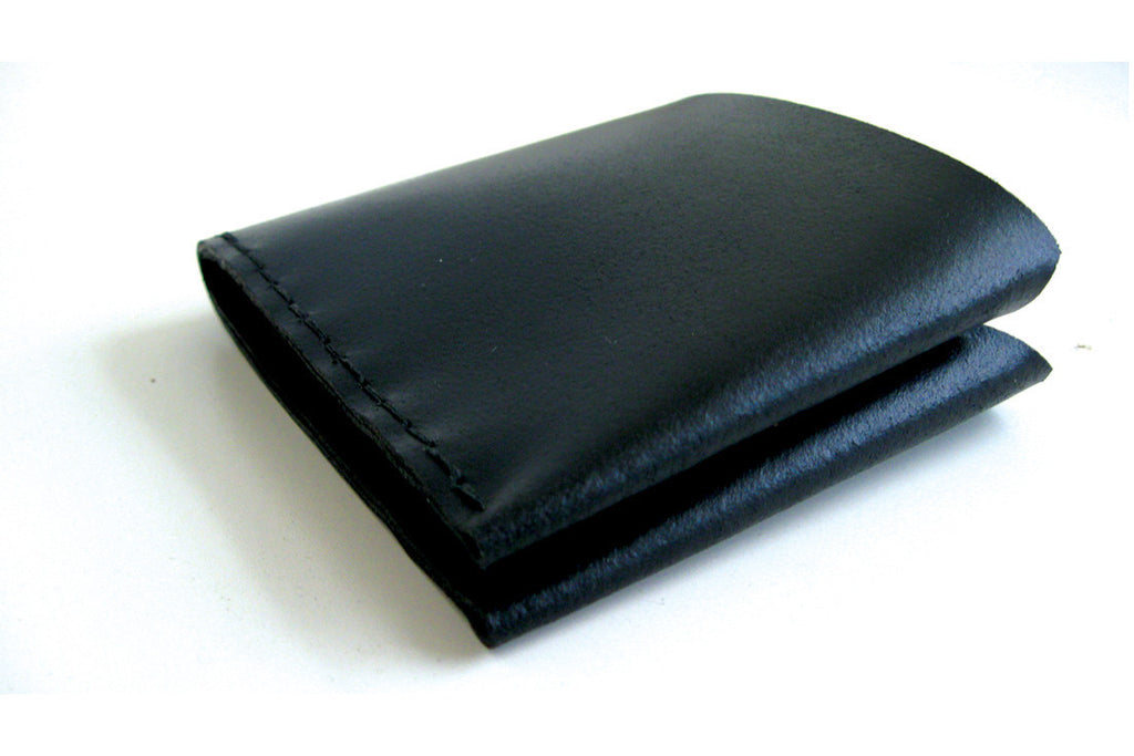 Black Leather Bifold Wallet ---