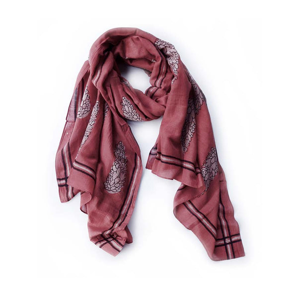 Cypress Red Block Print Scarf