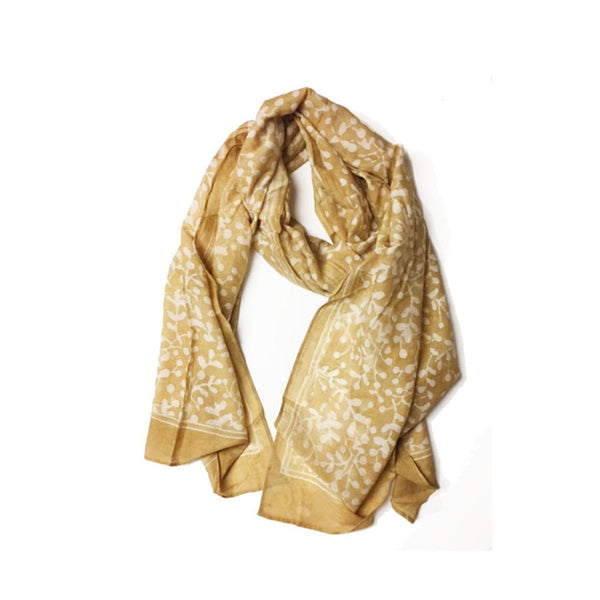 Yellow Leaf Block Print Scarf