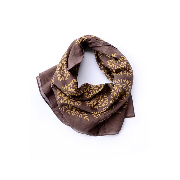Brown Lotus Motif Scarf