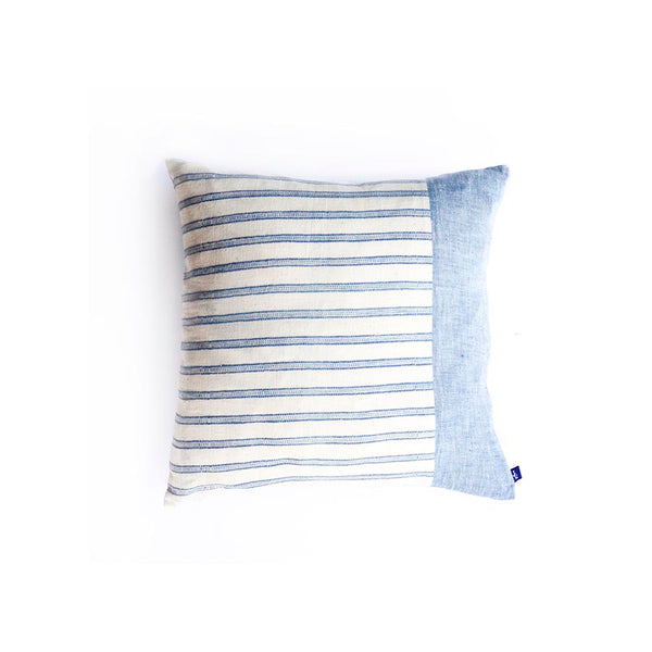 Blue organic cotton pillow