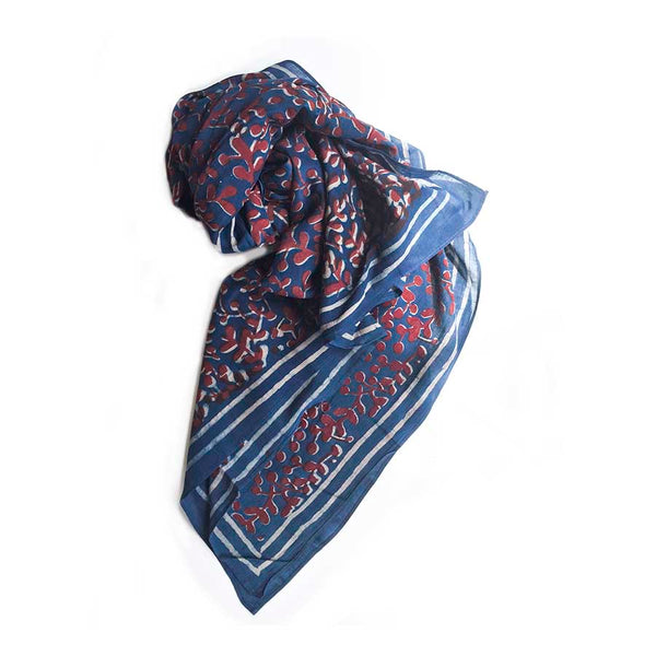 Red & Blue Block Print Scarf