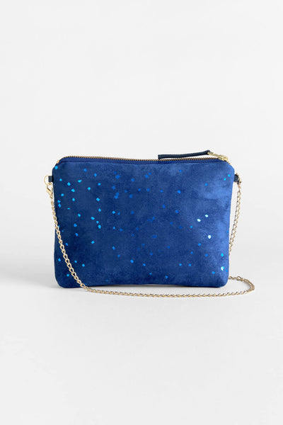 Confetti Blue Dulce Clutch + Chain Bag