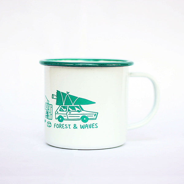 Forest Green Enamel Mug (Set of 2)