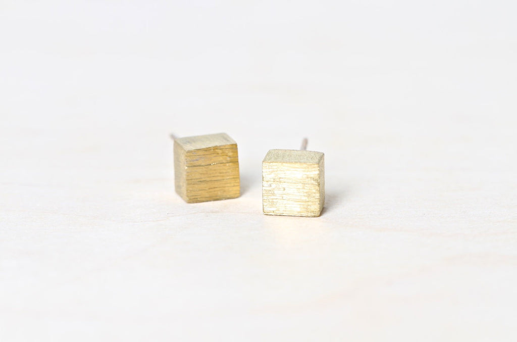 Rough Brass Square Earrings