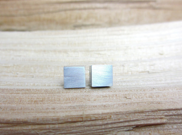 Polished Aluminum Square Earring ---