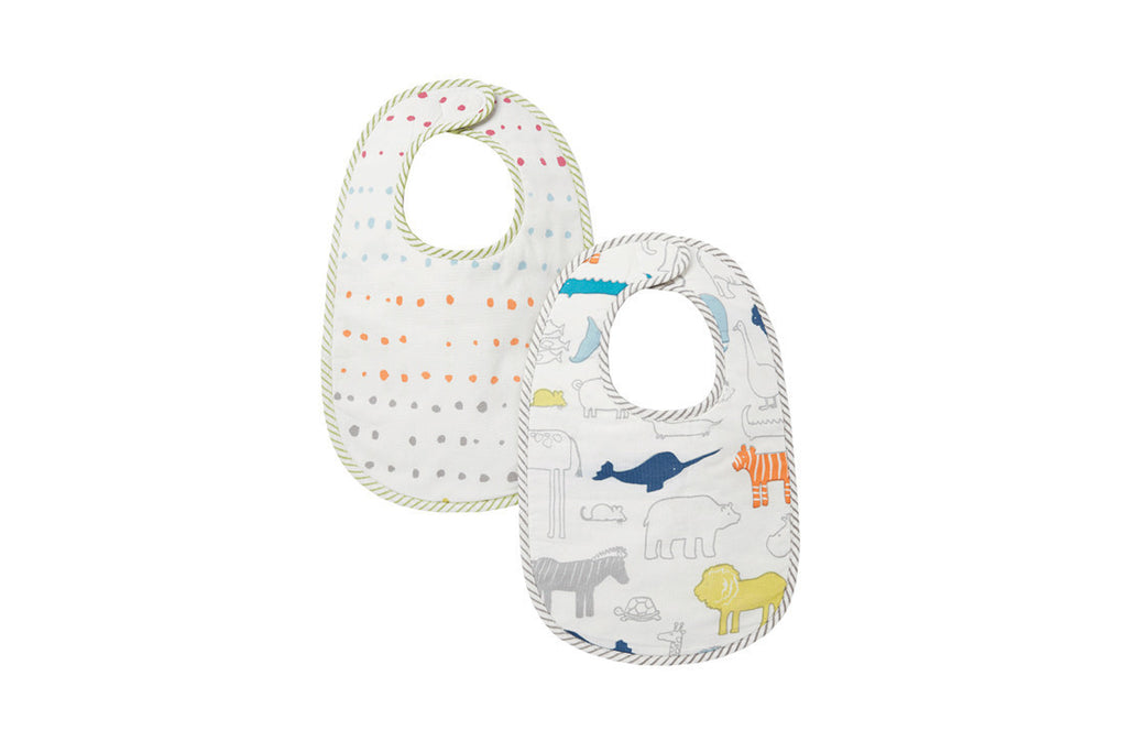 Noah's Ark & Painted Dots Bib (set of 2) ---