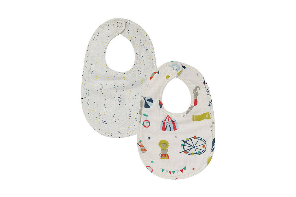 Big Top & Showers Blue Reversible Bib (Set of 2)