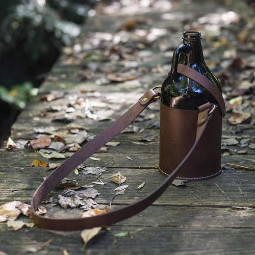 Leather Growler Carrier with Shoulder Strap (More Options)