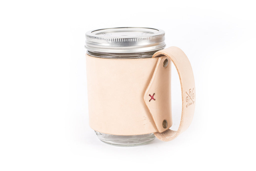 Mason Jar Leather Mug (More colors)