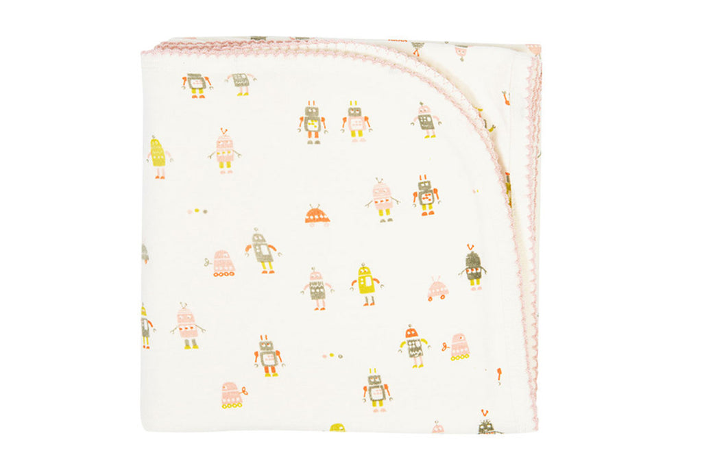 Robot March Pink Baby Blanket ---
