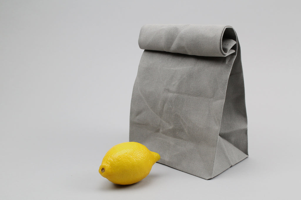 Grey Waxed Canvas Lunch Bag ---