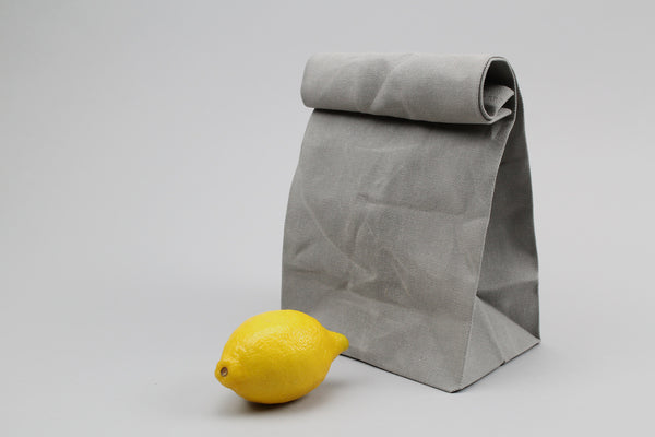 Grey Waxed Canvas Lunch Bag