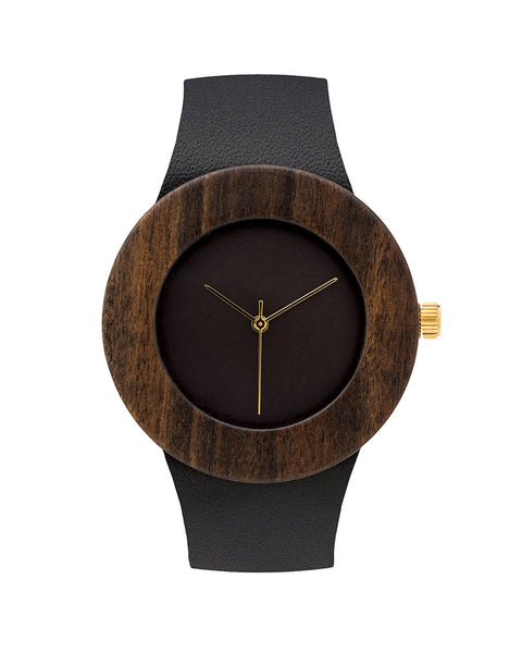 Leather + Blackwood Wood Watch (More Options)