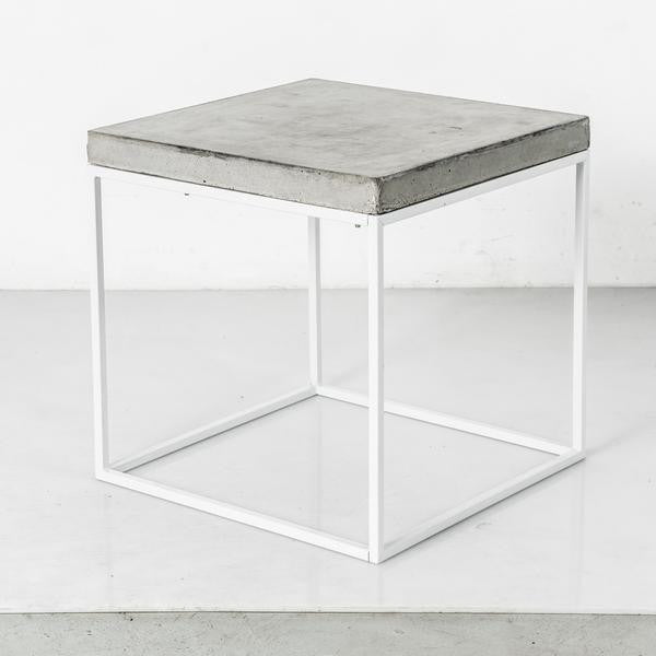 Clear-Coated Concrete + White Steel Cube (More Options)