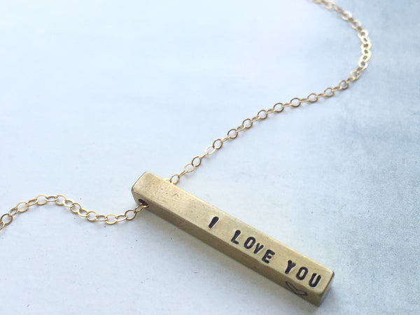 I Love You Bar Necklace