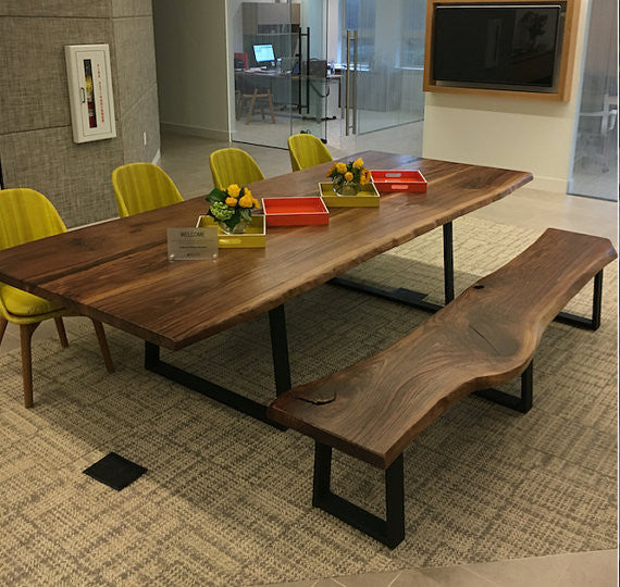 The Chase Live Edge Walnut Slab Dining Table