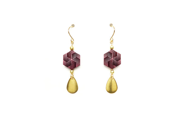Hexagon + Teardrop Earrings