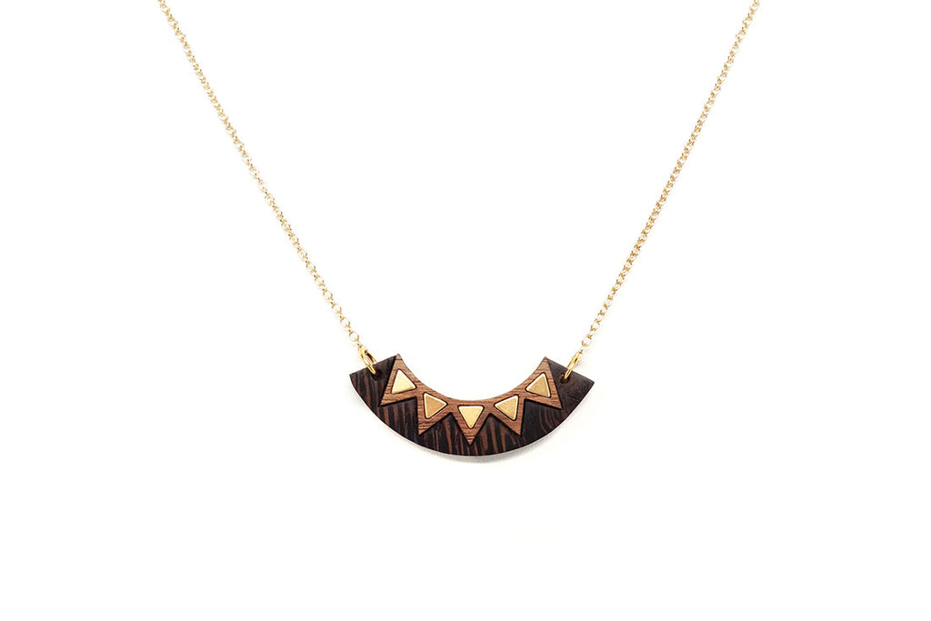 Brass Inlay Chevron Necklace (More Options)