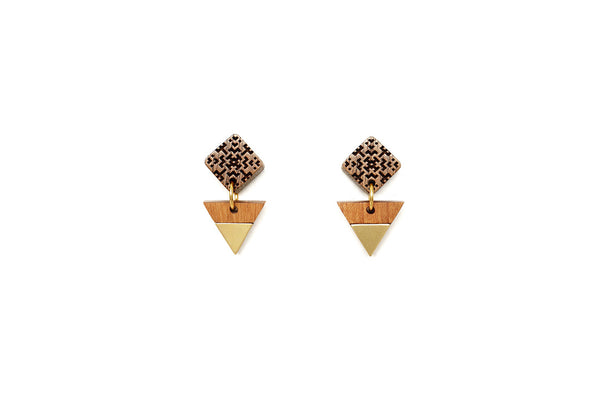 Brass Inlay Square Post Earrings