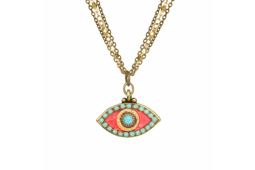 Pink + Turquoise Evil Eye Necklace