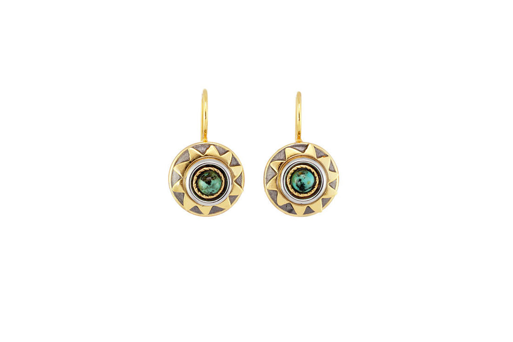 African Turquoise Sun Earrings